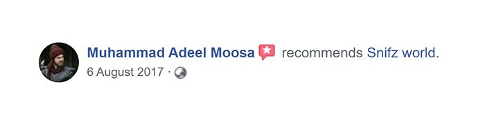 Muhammad Adeel Moosa Customer Reviews for snifz